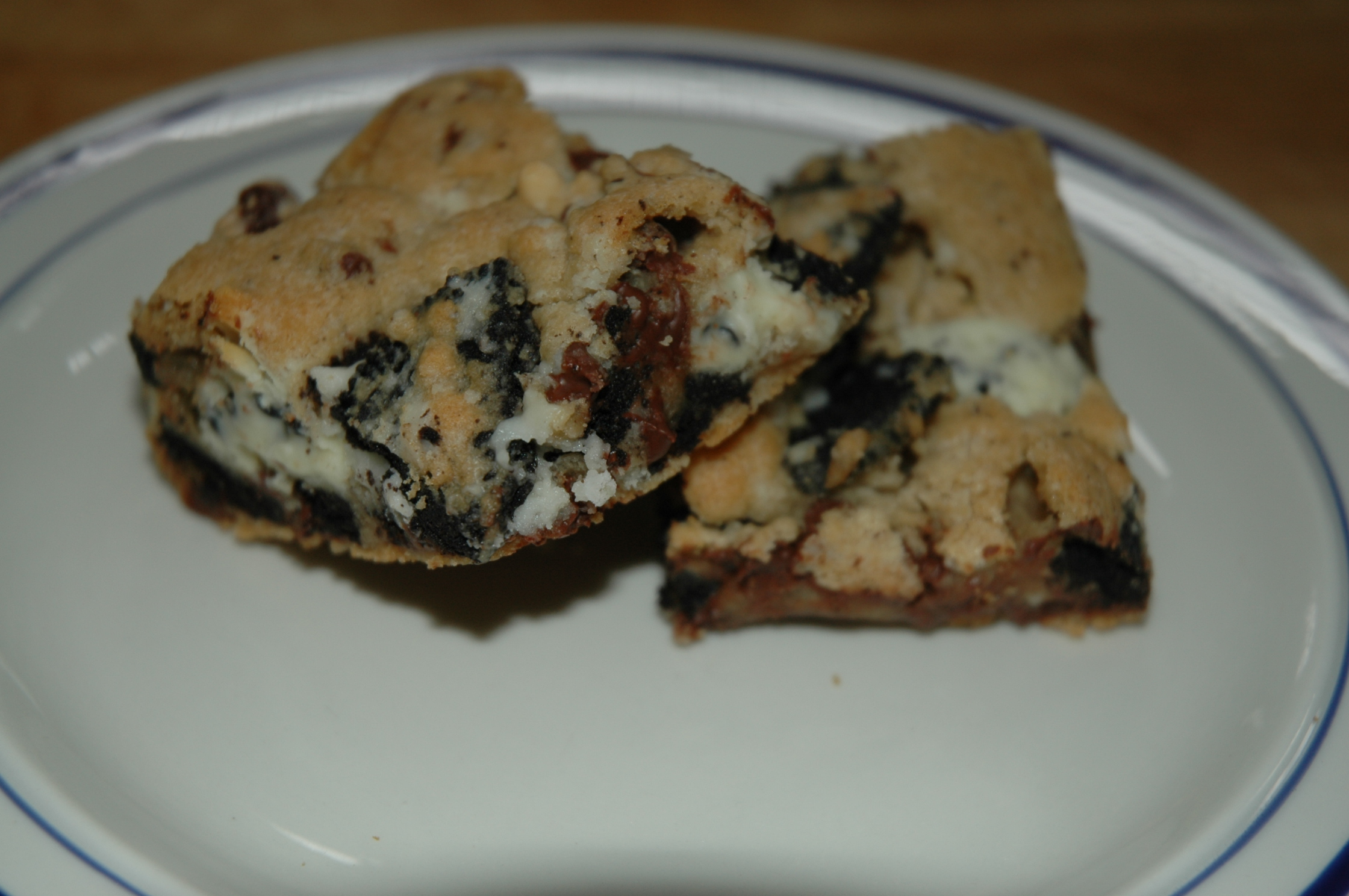 Double Cookies and Cream Kiss Cookie Bars | Bakewell Junction