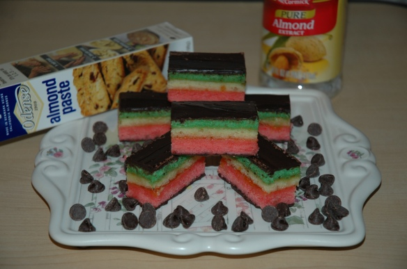 Venetians / Rainbow Cookies / Tri Color Cookies by Bakewell Junction