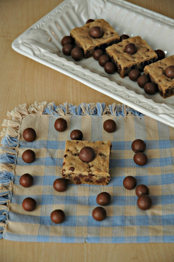 Malted Chocolate Chip Whopper Blondies | Bakewell Junction