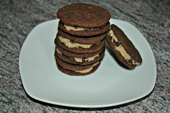Chocolate Chip Cookie Dough filled Chocolate Sandwich Cookie | Bakewell Junction