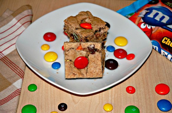 Mega M and M Blondies | Bakewell Junction - decadent and chocolaty.